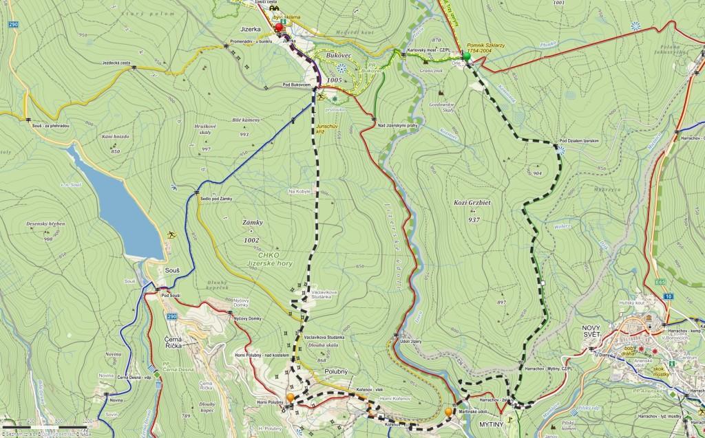 Trasa Rowerowego Rajdu Retro (źródło: Mapy.cz)